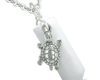 Amulet Turtle Lucky Charm Crystal Point White Snowflake Quartz Pendant 18 Inch Necklace