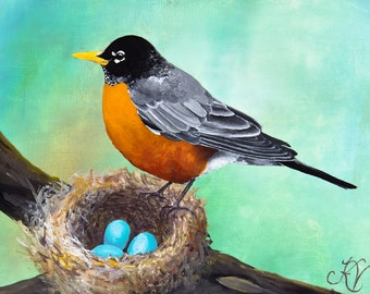 Robin Nest print from original acrylic painting FREE SHIPPING