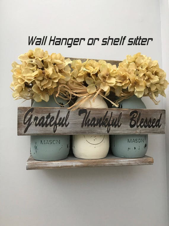 Housewarming Gift, Rustic, Wood Decor, Farmhouse, Gift For Couples, Newlywed Gift, Home Decor Grateful, Thankful Sign, Blessed Sign
