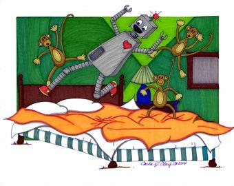 "robot and monkies: GICLEE PRINT  11""X14"""