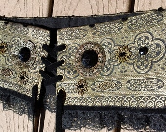 Ready-to-wear,Waist cincher --vintage sari, vintage glass, mismatched filagree brass, corset closure, and lace