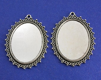 2, 5 or 10 pcs - 40x30mm Scroll Edge Setting, Antiqued Silver Setting, 30 mm x 40 mm Cameo Setting - AS-K03578-8S