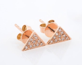 Triangle Shape Diamond Earring