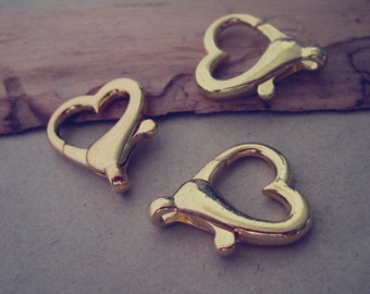 10pcs gold color Love Heart Lobster Clasps 22mmx27mm