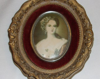 Ornate Framed Pictures, renaissance theme, Portrait of A Woman, Black Haired woman picture, Blonde haired woman picture