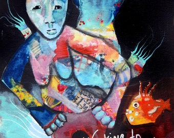 Working to stay afloat- Original Mixed Media