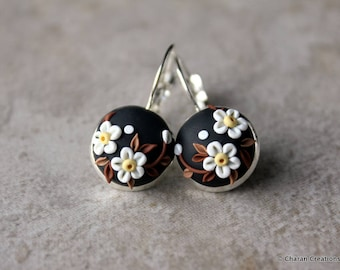 Gorgeous Polymer Clay Applique Statement Earrings in Black and White