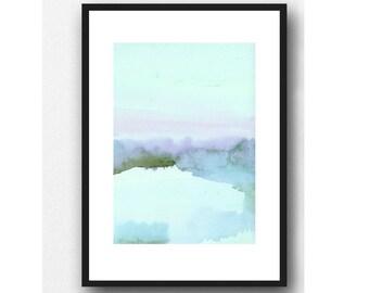 landscape painting, Fine art print landscape watercolor painting blue shore The Dutch Wadden Sea Islands