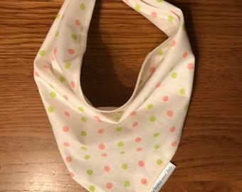Dog Bandana - pink and green spots pattern