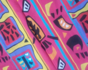 Vintage Fabric. Designer David Whitehouse. Hot Pink Tribal Polycotton 1.5m x 1.5m approx