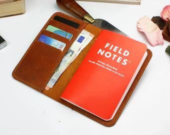 Field Notes Wallet, Leather Notebook wallet, Field Notes distressed tan  leather book cover