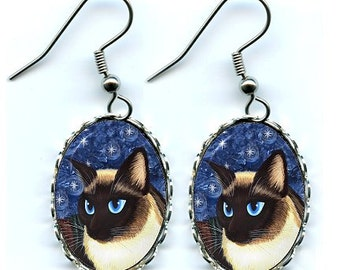 Siamese Cat Earrings Seal Point Siamese Cat Fantasy Cat Art Cameo Earrings 25x18mm Gift for Cat Lovers Jewelry