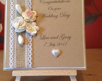 Handmade and personalised congratulations on your wedding day card