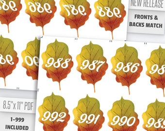 Fall Leaves Live Number Cards(1-999) Normal + Mirrored Numbers Included | Live Sale Numbers, Number Tags, Facebook live numbers