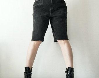 Denim Bermuda Shorts 90s Vintage Plus Size Black Jean Shorts XL Bermudas 37 Waist High Waisted Shorts High Rise Boyfriend Shorts Long Shorts
