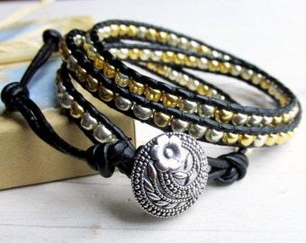Gold and Silver Three Wrap Bracelet, Multiwrap Bracelet, Black Wrap, Adjustable Size Bracelet, Triple Wrap Fashion Bracelet