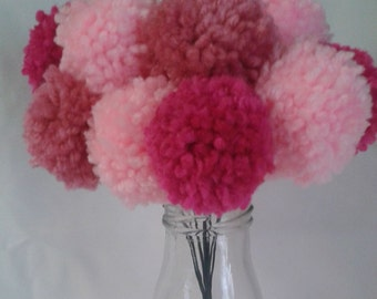 12 mixed shades of pink yarn pom pom flowers. Pom pom bouquet centerpieces. Wedding/ baby shower decorations.