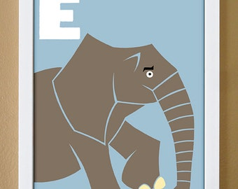 alphabet letter E, elephant, custom colors, children's letter art, letter print, nursery decor, kids initials, 4X6, 5X7, 8X10