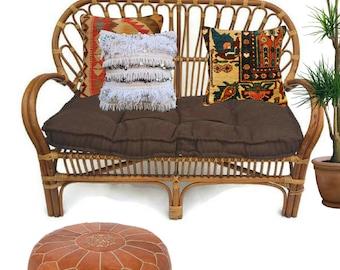 Vintage Bamboo Settee Bamboo & Rattan Love Seat Bohemian Lounge Decor Garden Patio Seating Bentwood Bamboo Sculpted Fan Back Sofa Settee