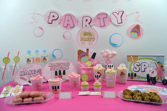 spa party decoracion fiesta spa kit imprimible fiesta spa. Black Bedroom Furniture Sets. Home Design Ideas