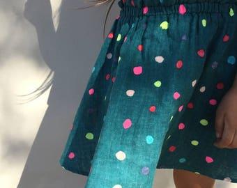 Girls Teal Clothes, Girls Skirt Dots, Polka Dot Skirt Baby, Girls Skirt Twirl, Baby Girl Skirt Colorful, Toddler Skirt Bright