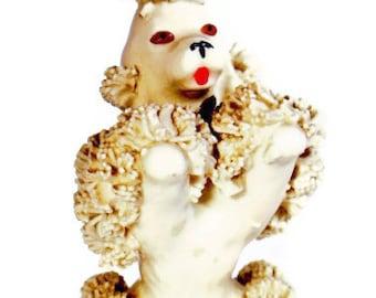 Spaghetti Poodle Figurine Vintage Dog White Figurines Ceramic Figure 1950s
