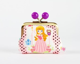 Metal frame coin purse with color bobbles - Sleeping Beauty and Cinderella - Color mum / japanese fabric / Disney princess / Pink black dots