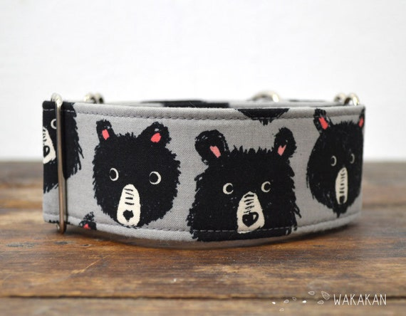 Martingale dog collar model Bears. Adjustable and handmade with 100% cotton fabric. Doodle. Wakakan
