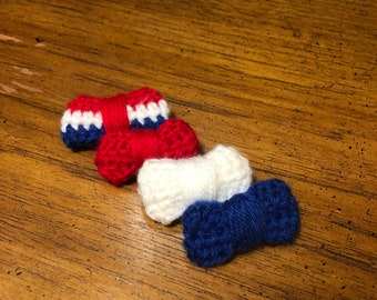 Crochet red, white, and blue bow