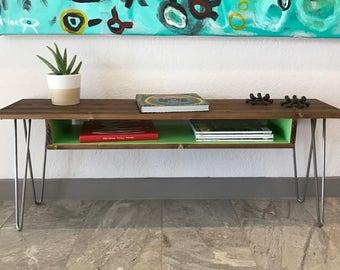 Modern Retro Wood Coffee Table, Desk, Entry, Hallway, Sofa, TV Stand, Entertainment, Media Console, Storage, Shelf