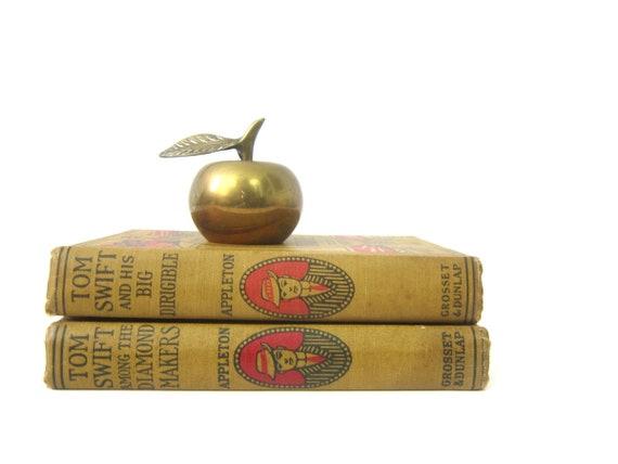 Small Brass Apple modern Home decor 1960s brass Decor Retro Ranch Shelf Decor