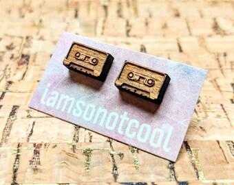 Cassette Tape Earrings / Cassette Tape Stud Earrings / Laser-Cut Wood Earrings / Walnut Wood Studs / Hypoallergenic / Retro Vintage Studs
