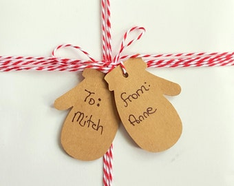 """20 Kraft Brown Paper Mitten Gift Tags, 1 1/2"""" x 2 1/8"""", Christmas Gift Tags, Winter Gift Tags"""