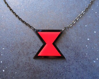 Black Widow Hourglass Symbol Logo Chain Pendant Necklace