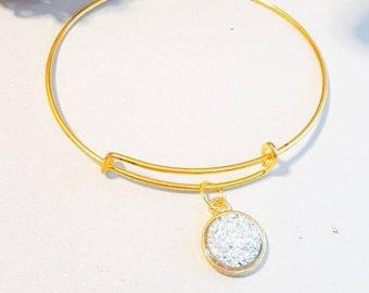 gold bangle, faux druzy , small gold adjustable bangle, sparkle bracelet, glitter look bangle,silver stone, glittery,