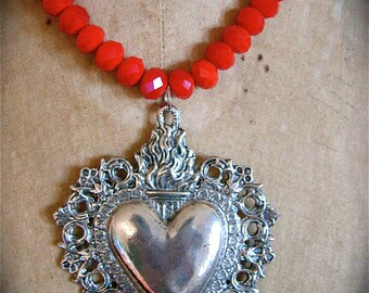 My BELOVED-  Stunning Large German Ex Voto Pewter Sacred Heart Cherub Milagro Necklace