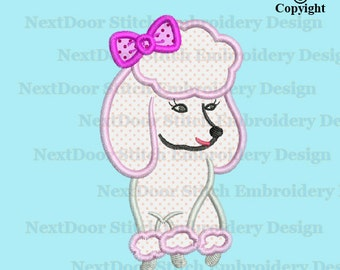 Poodle embroidery applique design, sitting dog princess Machine Embroidery download, dog-008