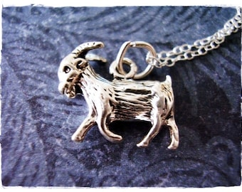 Silver Goat Necklace - Sterling Silver Goat Charm on a Delicate Sterling Silver Cable Chain or Charm Only