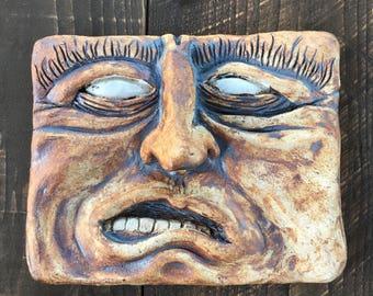 Funky face tile, ceramic faces