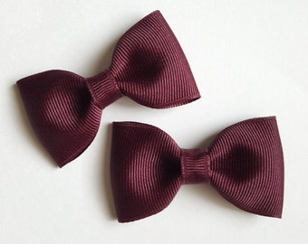 maroon hair bows--back to school hair accessories for uniforms--perfect plain simple small gift ideas
