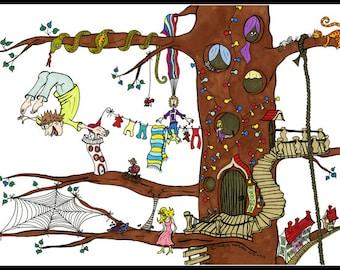 Tree House illustration - Tree illustration - Tree House - Illustration Print
