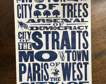 Detroit Nicknames Hand Silkscreened Art Print