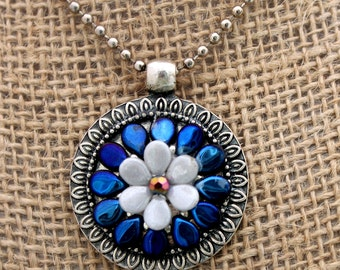 Cobalt Blue and Pearl White Handmade Pip Necklace