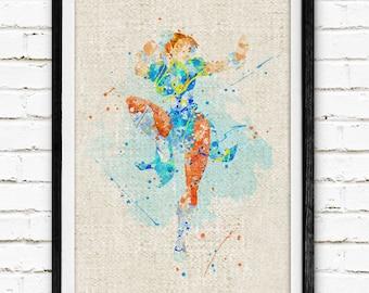 The Street Fighter Poster, Chun-Li Watercolor Art Print, Baby Nursery Wall Art, Not Framed, Buy 2 Get 1 Free! NA87