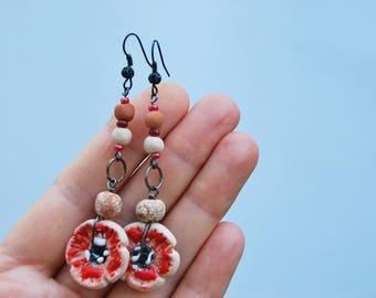 Earrings Poppy boho dandle Ceramics necklace flower boho earrings floral  flower gift for her boho chic jewelry gift