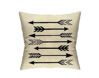 Tribal Pillow Cover Arrows 18 x 18 Aztec Print Orange Throw Pillows Screen Printed Housewares Cushion Covers Blue Pillow Cover Home Decor