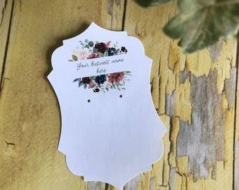 Custom Printed Earring Cards, Ornate Frame, set of 50 cards, The Ashley Style