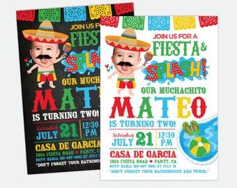 Fiesta Pool Birthday Invitation with Photo, Pool Party Invitation, Splish Splash Birthday Invitation, Personalized Digital Invitation