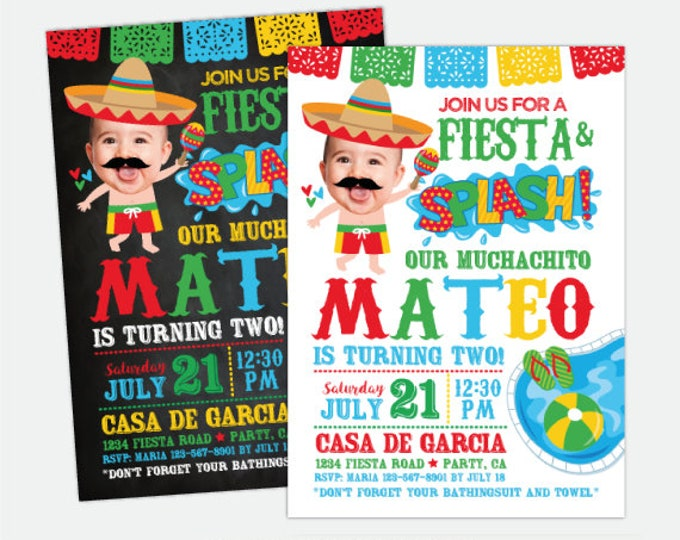 Fiesta Pool Birthday Invitation with Photo, Pool Party Invitation, Splish Splash Birthday Invitation, Personalized Digital Invitation