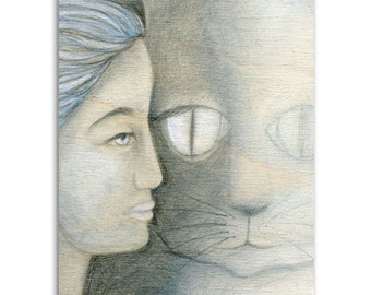 Cat Soul, Note Cards - Set of four 5x7 note cards - mixed media painting and poem by Claire